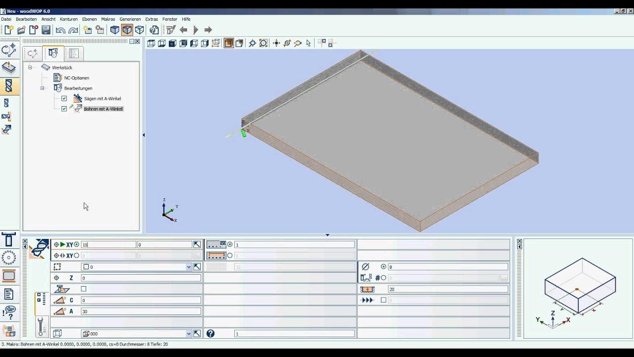 woodwop 6.0 - sägen und bohren mit a-winkel.avi - youtube