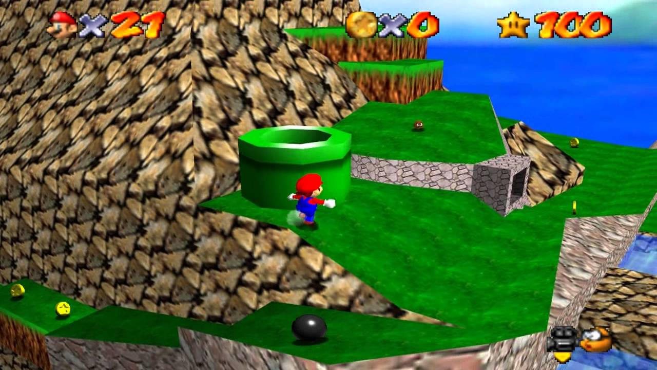 Super Mario 64 Walkthrough - Course 13 - Tiny Huge Island - YouTube