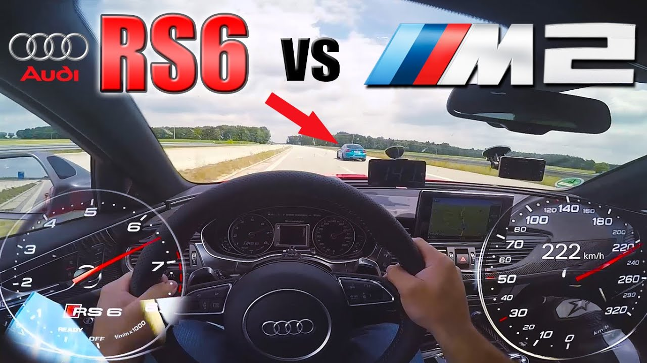 RS6 Performance chasing a Lady in BMW M2 on German Autobahn ✔