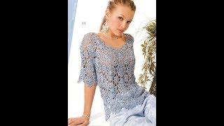 Женская Кофточка, Связанная Крючком - 2019 / Women's Blouse Knitted Crochet / Damen Bluse