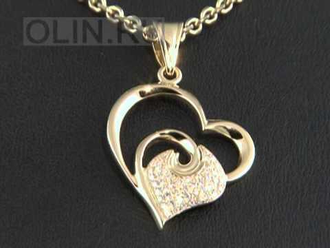 Золотая подвеска Сердечко с бриллиантами