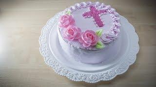 Торт на крестины (крещение) своими руками с йогуртовым кремом без добавления сахара
