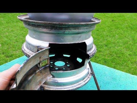 Как сделать печь для казана из колесных дисков своими руками