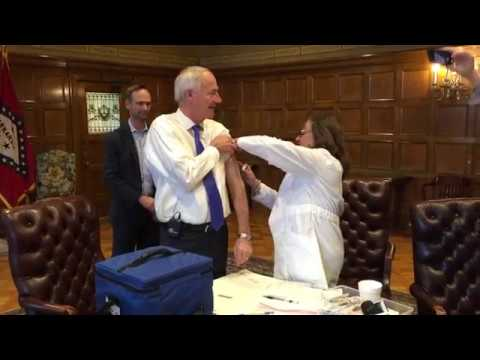 Gov. Asa Hutchinson receives flu shot at state Capitol