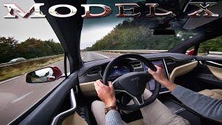 Tesla Model X P90D LUDICROUS Autobahn TOP SPEED Launch Mode Acceleration