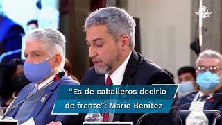 """""""Mi presencia en esta cumbre en ningún sentido ni circunstancia representa un reconocimiento al gobierno del señor Nicolás Maduro"""", expresó el presidente de Paraguay, Mario Benítez"""