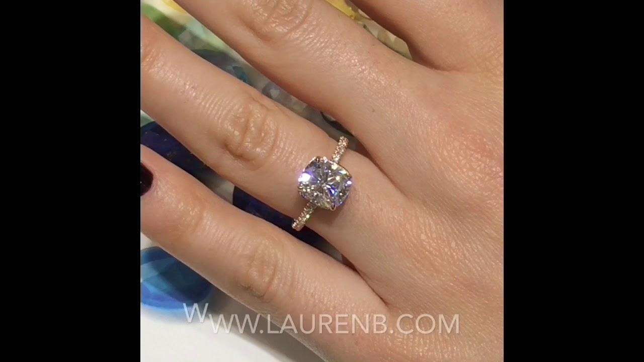 3 Carat Cushion Cut Moissanite Engagement Ring