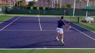 Milos Raonic and coach Ivan Lubicic Indian Wells practice March 10, 2015