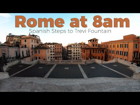 Rome at 8am - Spanish Steps to Trevi Fountain (NO CROWDS) 4k/60fps