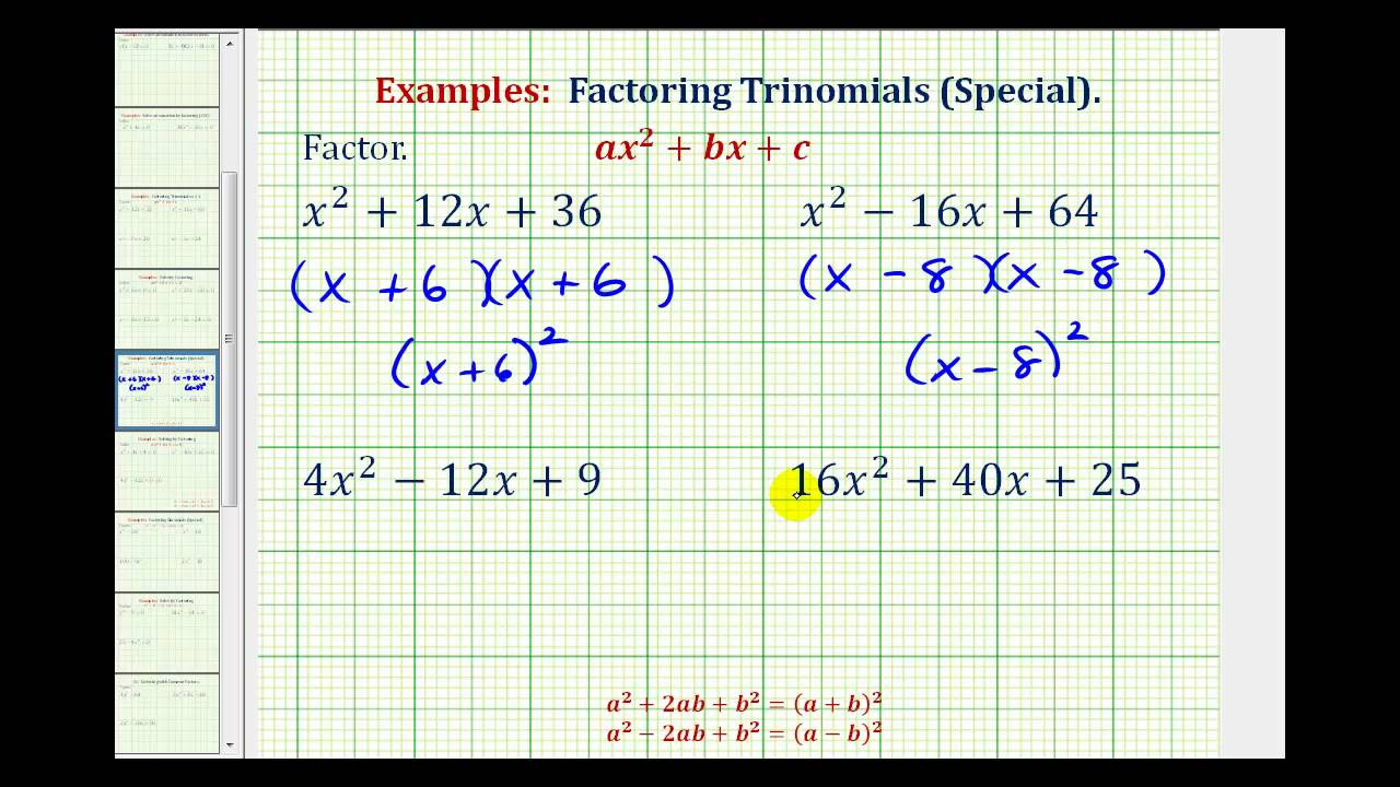 Ex: Factor Perfect Square Trinomials - YouTube