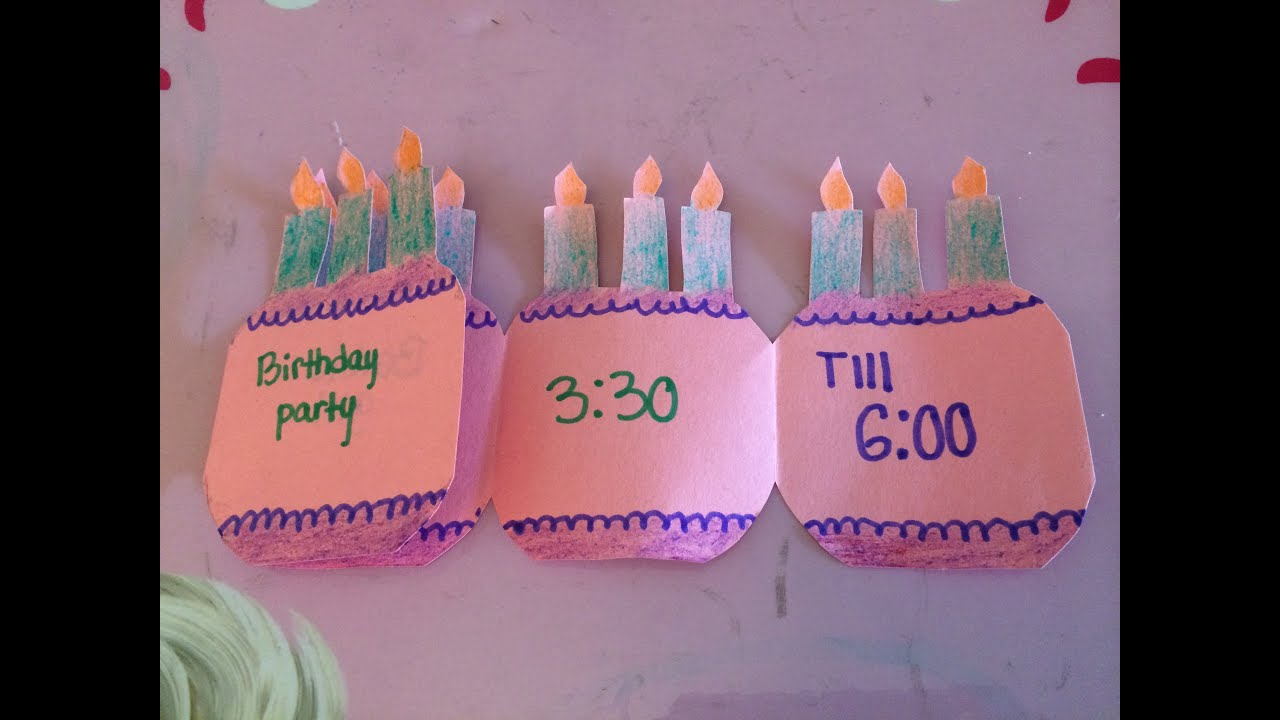 how to make a folding birthday party invitation card - YouTube