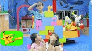 Kids Go To School Play Puzzle Lego at Children's play Area & Home Ball Finger Family Child 2  Ep 54