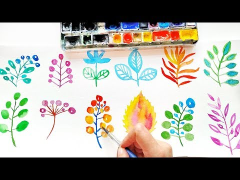 Easy Watercolor Doodles For Beginners - DIY Loose Floral Painting Ideas \ Watercolor ASMR