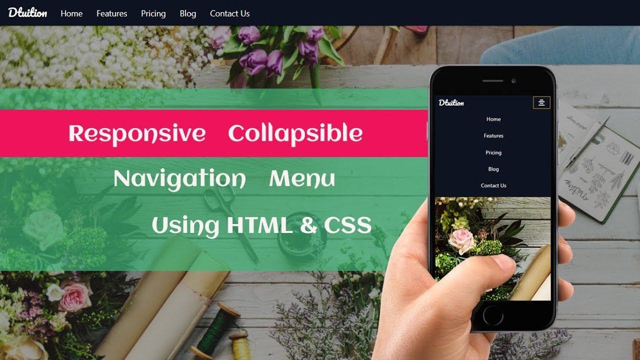 Responsive Collapsible Navigation Menu Using HTML5 and CSS3