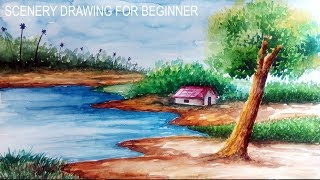 Scenery drawing with watercolor easy | Step by step #37