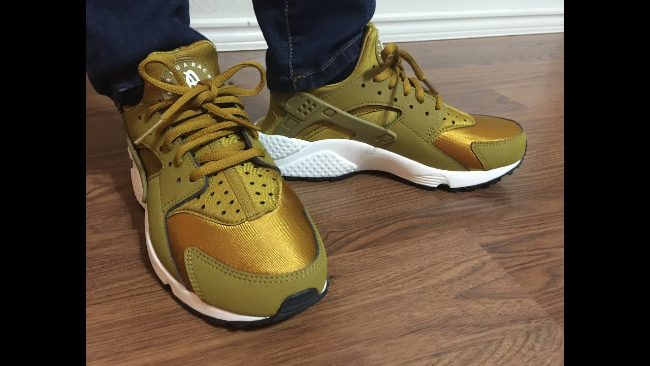 Wife Nike Air Huarache Gold Bronzine on feet review - YouTube c8b796f95b3b