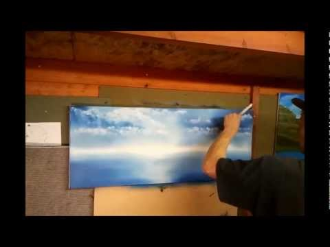 Bob Ross Painting Technique - Mountain, Sea and Clouds [time lapse]