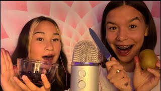 ASMR eating fruit with my friend:) 🍎 🍌 🍉 (RAMBLING, MOUTH SOUNDS)