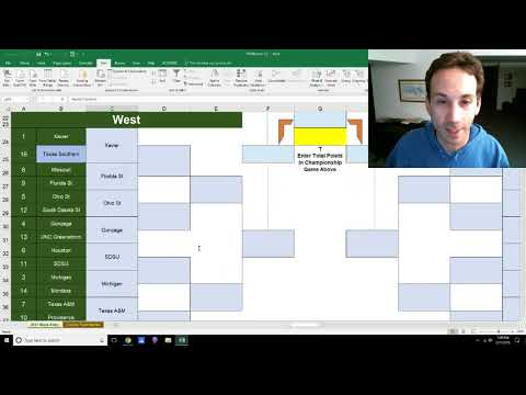 2018 Printable Fillable March Madness Bracket in Excel