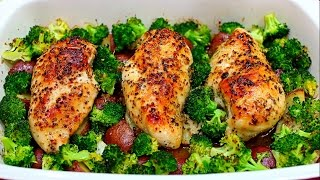 One Pan Honey Garlic Chicken and Veggies Recipe - Honey garlic chicken with potatoes and broccoli