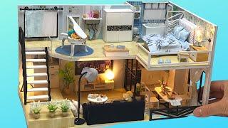 DIY Miniature Dollhouse Kit Bedroom, Bathroom, Livingroom, and more.