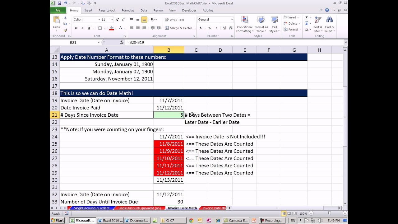 Free Proforma Invoice Template Excel  Business Math  Date Math For Invoices  Youtube Invoice Template Uk Excel Pdf with Reconcile Invoices Pdf Excel  Business Math  Date Math For Invoices Spanish Receipt