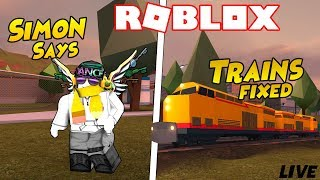 Roblox Jailbreak Live 🔴BETTER Trains Update! Simon dice y hide and Seek ¡Ven y únete a mí!