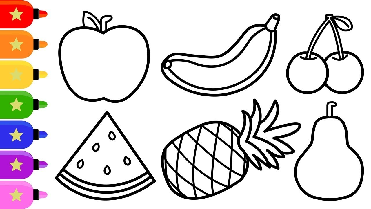 Fruits Drawing And Colouring For Kids How To Draw Fruits Easy Step By Step Youtube