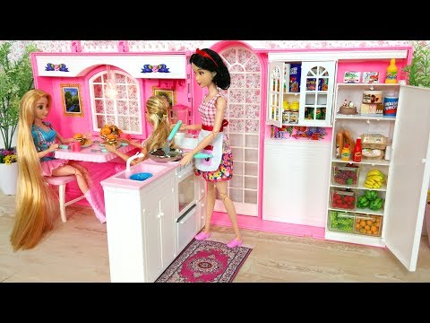 Barbie doll Pink Kitchen Unboxing & Setup boneka Barbie Dapur Merah Muda Boneca Barbie Cozinha Rosa