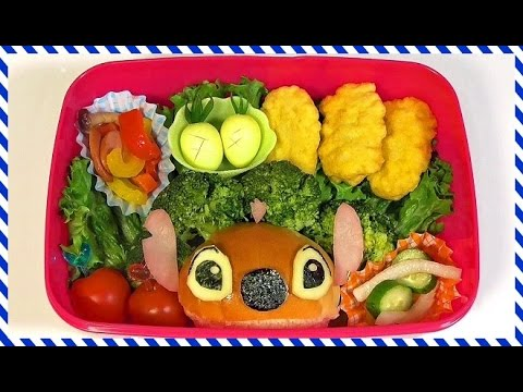disney stitch bento lunch box kyaraben youtube. Black Bedroom Furniture Sets. Home Design Ideas