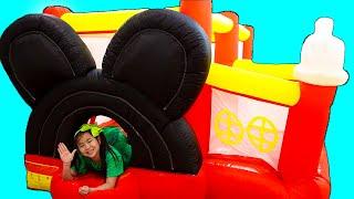 Jannie Pretend Play with Mickey Mouse Inflatable Bounce Playhouse Jumper Toy for Kids