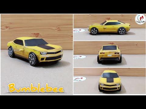 Make easy paper car   Transformer bumblebee papercraft car   Diy Transformer car   crazymade