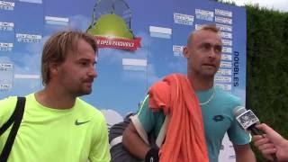 Roman Jebavý a David Novák po semifinále deblu na turnaji Futures v Pardubicích