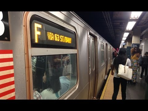 BMT Broadway Line: Brooklyn & Queens Bound R160 (F) Train @ Times Square 42nd Street