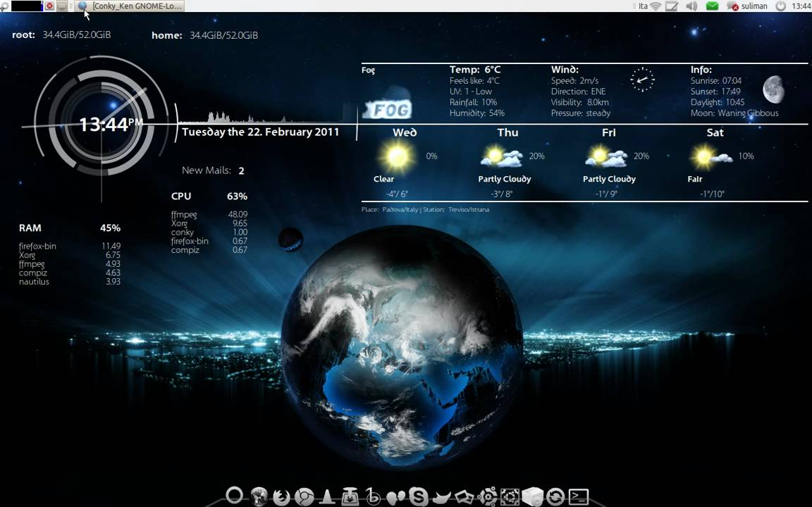 ubuntu live earth wallpaper (xplanetfx) with conky for a pretty and  informative desktop