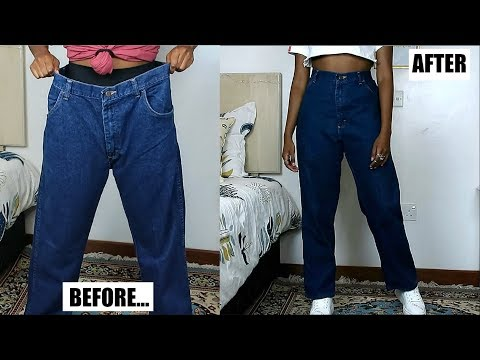 DIY Mom Jeans From Oversized Men's Jeans