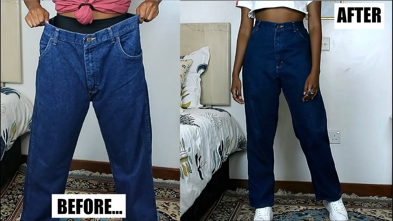 Separare Parlamento proiettile  DIY Mom Jeans From Oversized Men's Jeans - YouTube