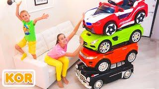 장난감 자동차를 타고 매직 리틀 드라이버를 타고 아이들을 위해 자동차를 변형하십시오