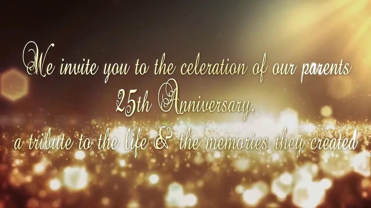 25th anniversary invitation video youtube 25th anniversary invitation video stopboris Image collections