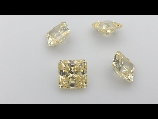 Canary Cubic Zirconia 5A Quality Radiant Quadrillion Cut Gemstones