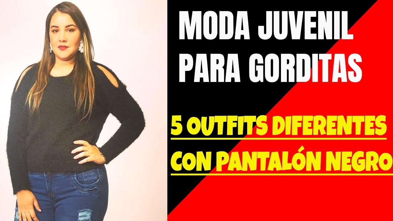 ROPA PARA GORDITAS Ideas en MODA JUVENIL PARA GORDITAS  con 5 outfits con pantalón negro