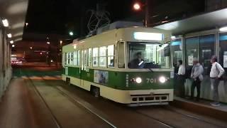 【響く!吊り掛け】広島電鉄700形701号 海岸通 到着〜発車