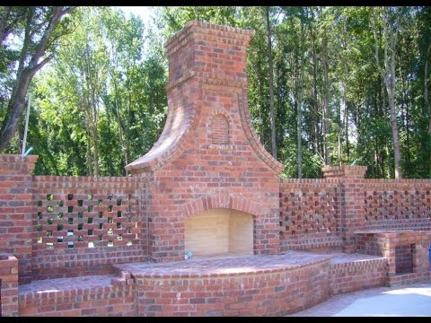 red brick patio fireplace - YouTube