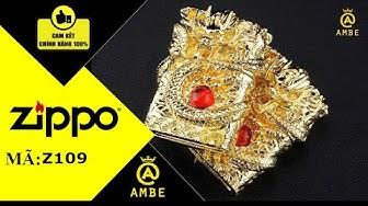 Zippo USA xuất Nhật rồng ôm ngọc mạ vàng cực chất - Ambe.vn