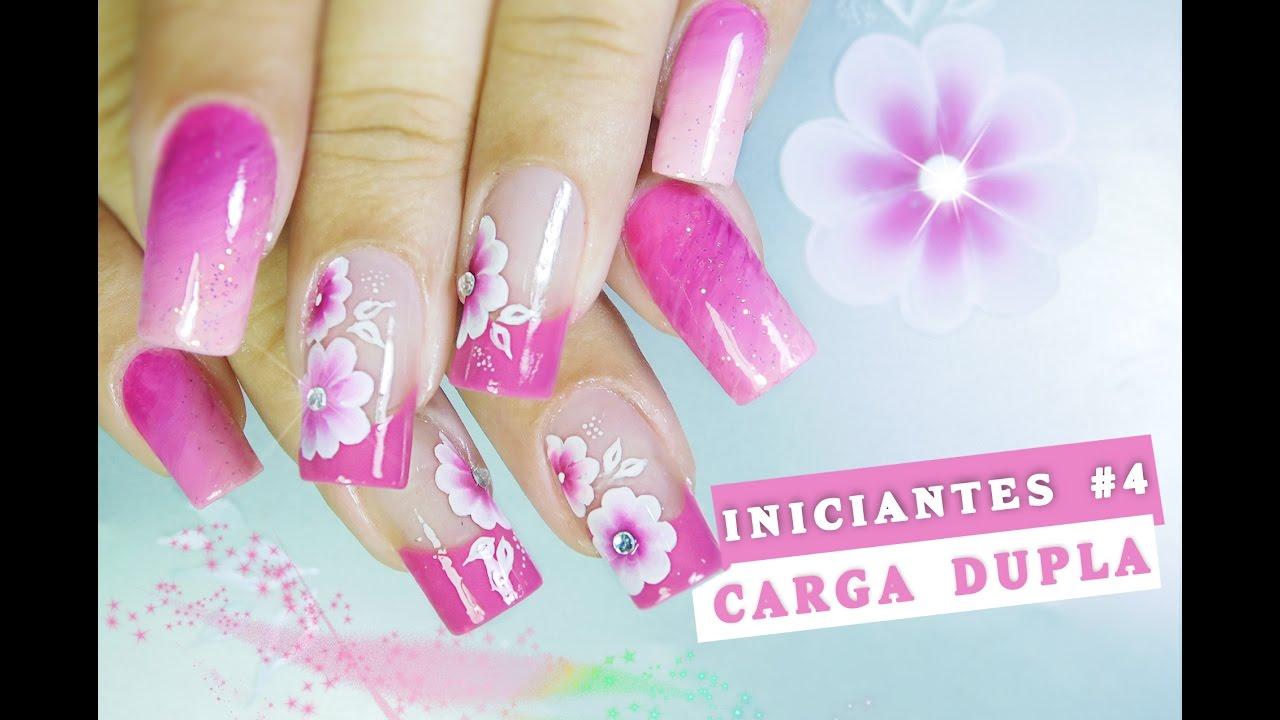 Populares Unhas Decoradas com Flor em CARGA DUPLA Outubro Rosa#4 iniciantes  AK87