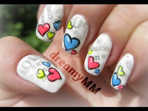 Comic Love Letters With Newspaper Nail Art Tutorial Youtube