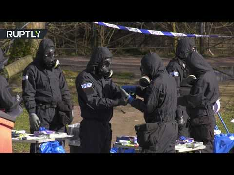 Forensics team works at location of Skripal's incident in Salisbury
