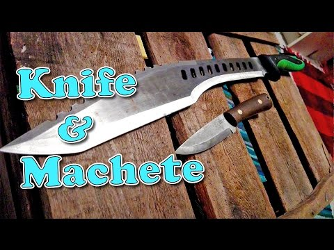 Hacking and cutting with a machete + Gary Wines knife