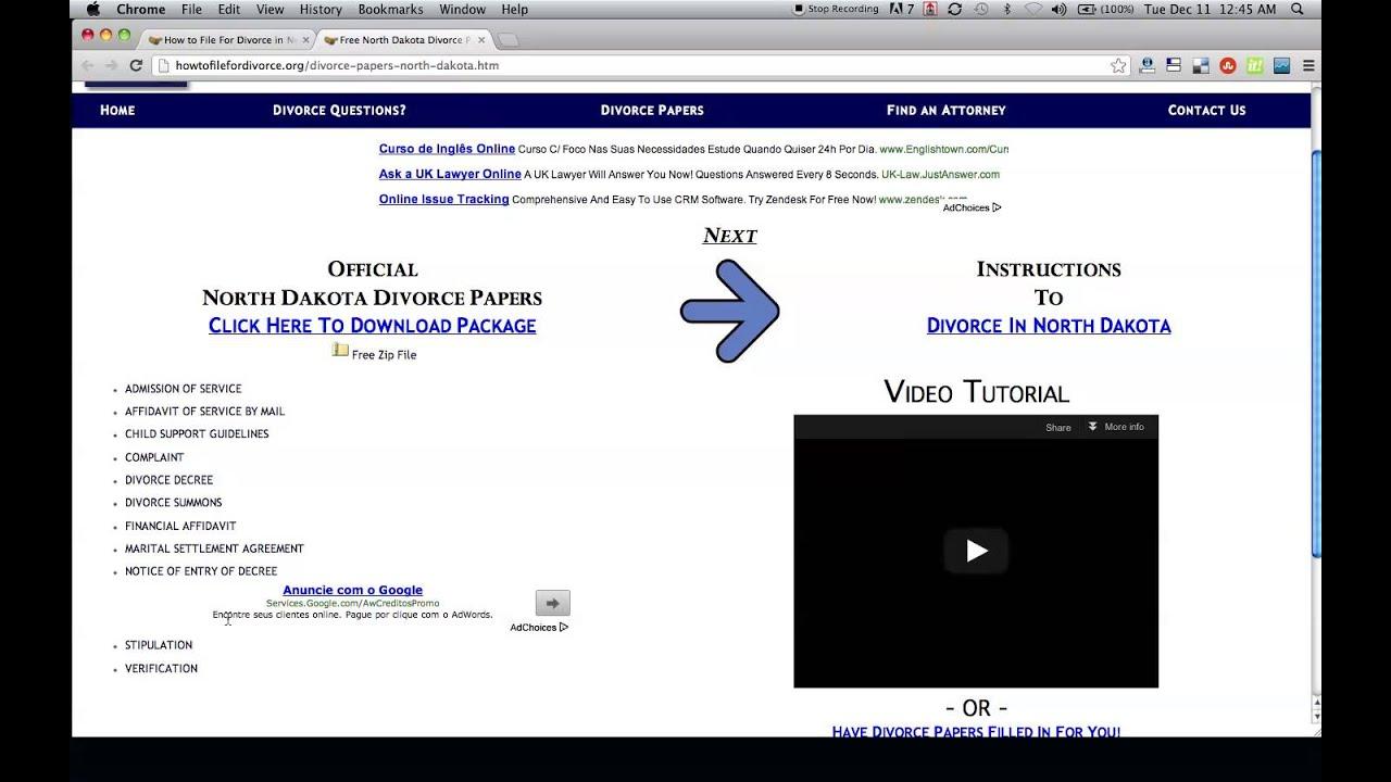 6fcdb60af Free North Dakota Divorce Papers - YouTube