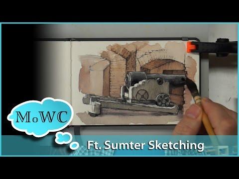 Watercolor Location Sketching Line & Wash – Ft. Sumter, SC